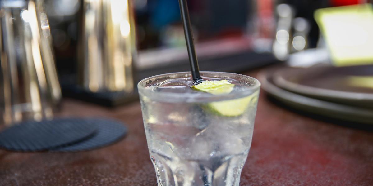 Vodka soda closeup